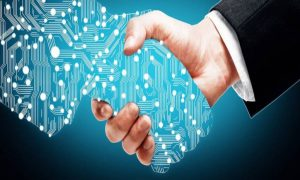 IT management shaking hands with a digital counterpart after IT adoption