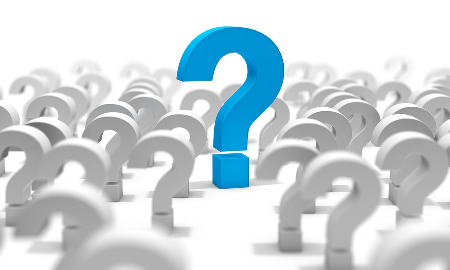 Big question mark sign in color blue surrounded by more question marks in grey