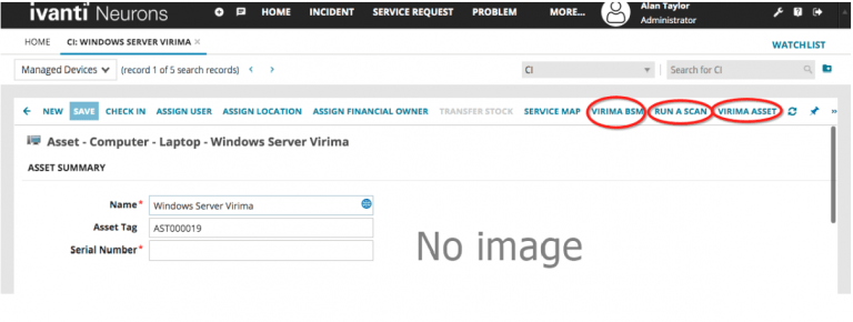 Virima links provided within ISM records